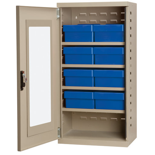 View a Larger Image of Putty Colored Mini-Cabinet with 8 Blue Model 31182 AkroDrawers