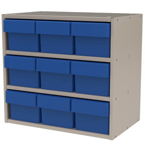Akro-Mils Putty Colored Modular Cabinet with Blue Model 31162 AkroDrawers