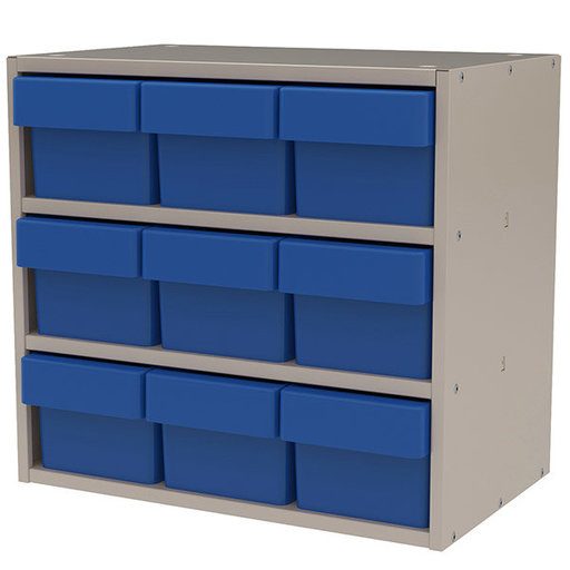 View a Larger Image of Akro-Mils Putty Colored Modular Cabinet with Blue Model 31162 AkroDrawers