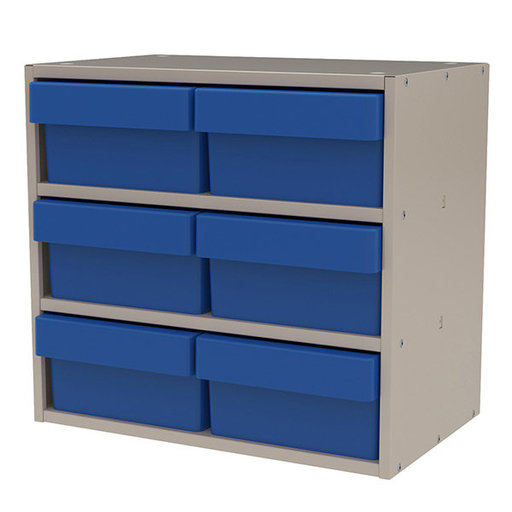 View a Larger Image of Akro-Mils Putty Colored Modular Cabinet with Blue Model 31182 AkroDrawers