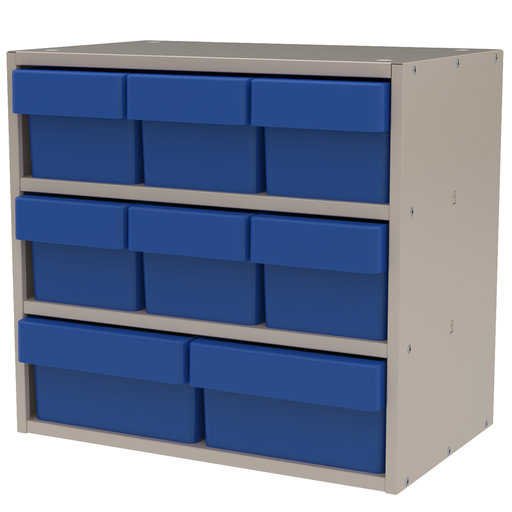 View a Larger Image of Akro-Mils Putty Colored Modular Cabinet with Both Model 31162 and 31182 Blue AkroDrawers