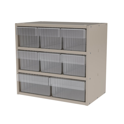 View a Larger Image of Akro-Mils Putty Colored Modular Cabinet with Both Model 31162 and 31182 Clear AkroDrawers