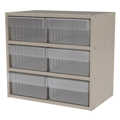 View a Larger Image of Akro-Mils Putty Colored Modular Cabinet with Clear Model 31182 AkroDrawers