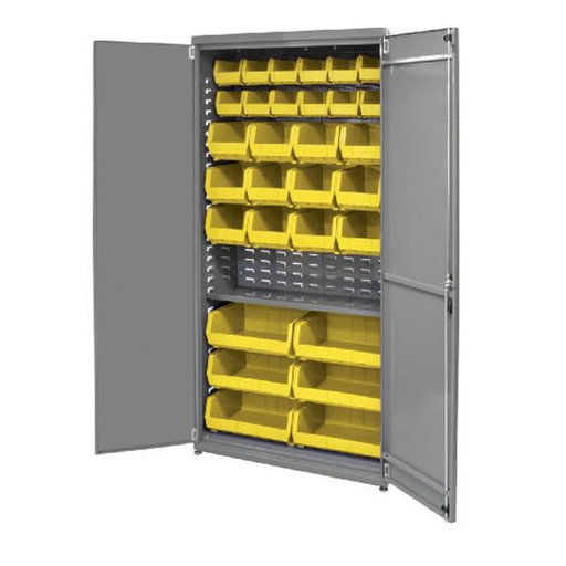 "View a Larger Image of Akro-Mils Ready-to-Assemble Cabinet with 30 AkroBins, 36""W x 19""D, 78""H, Model AC3618KD1ASY"