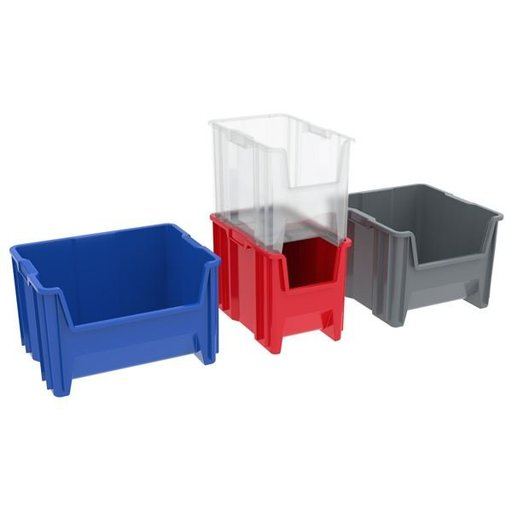 View a Larger Image of Akro-Mils Stak-N-Store Bin, Model 13017, Set of 3 - Blue
