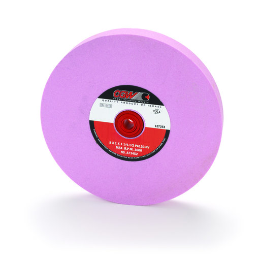 """View a Larger Image of Aluminum Oxide 8"""" x 1"""" Grinding Wheel, Pink, 120 Grit"""