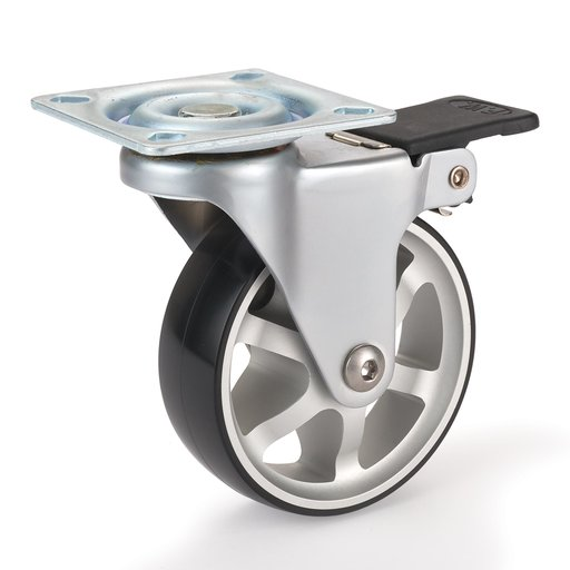 """View a Larger Image of 3"""" Aluminum Spoked Caster Locking Swiveling with 4 Hole Mounting Plate"""