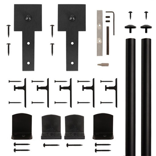 View a Larger Image of American Home Black Cube Stick Rolling Barn Door Hardware Kit with 6-ft. Rail