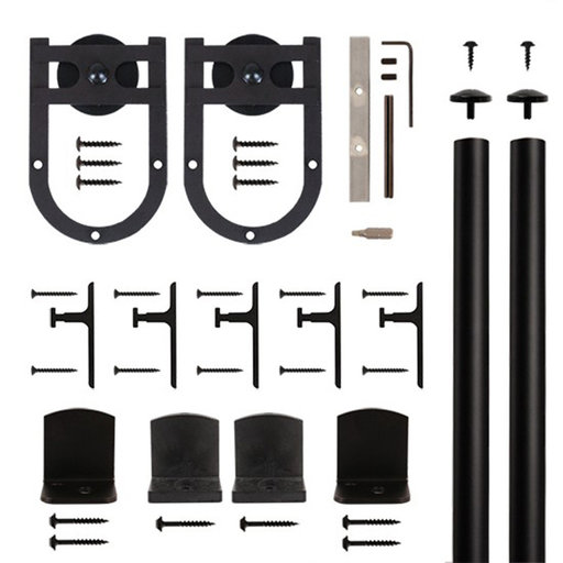 View a Larger Image of American Home Black Mini Horseshoe Rolling Barn Door Hardware Kit with 6-ft. Rail