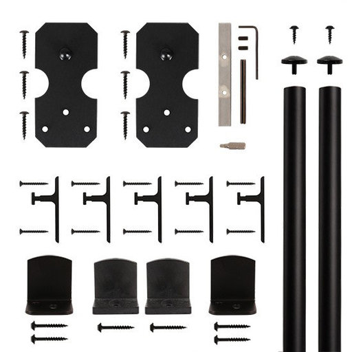 View a Larger Image of American Home Black Notched Rectangle Rolling Barn Door Hardware Kit with 6-ft. Rail