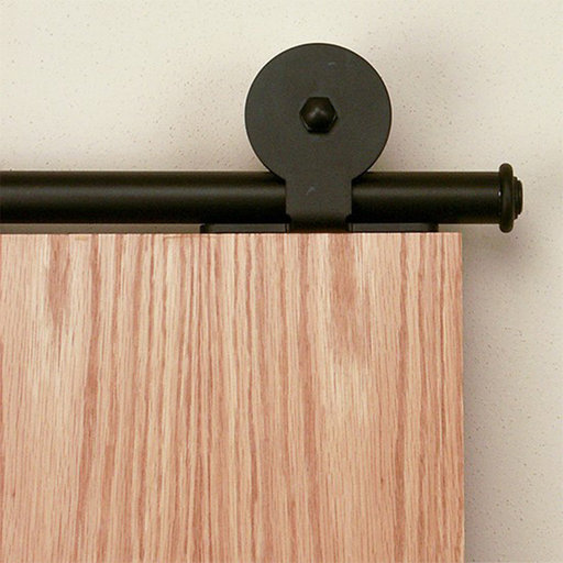 View a Larger Image of American Home Black Top-Mount Rolling Barn Door Hardware Kit with 6-ft. Rail
