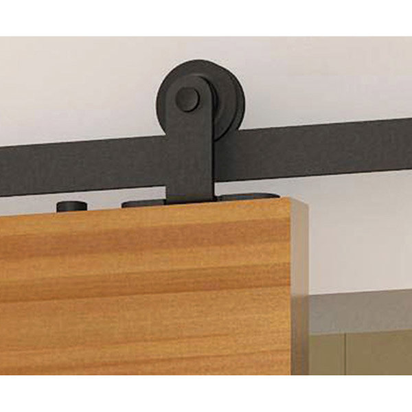 American Pro Decors Black Solid Steel Decorative, Sliding Rolling Barn Door  Hardware Kit For