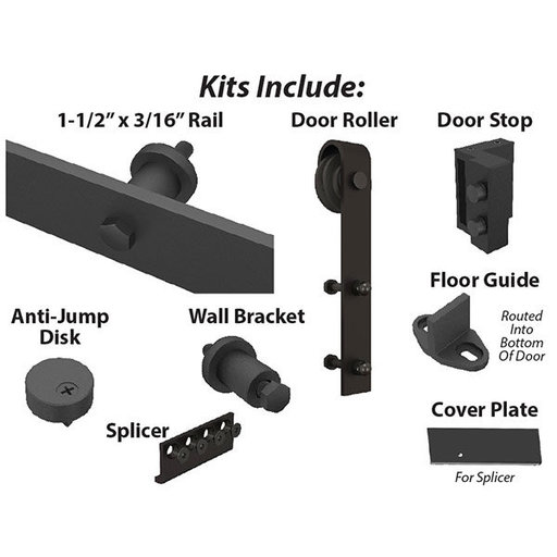 View a Larger Image of American Pro Decors Black Solid Steel Decorative, Sliding-Rolling Barn Door Hardware Kit for Double Wood Doors With Fittings DOOR NOT INCLUDED
