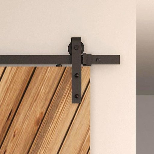 View a Larger Image of American Pro Decors Black Solid Steel Decorative, Sliding/Rolling Barn Door Hardware Kit for Single Wood Doors DOOR NOT INCLUDED