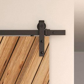 Black Solid Steel Decorative, Sliding/Rolling Barn Door Hardware Kit for Single Wood Doors DOOR NOT INCLUDED