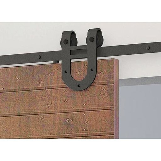 View a Larger Image of American Pro Decors Black Solid Steel Decorative, Sliding-Rolling Barn Door Hardware Kit for Single Wood Doors DOOR NOT INCLUDED