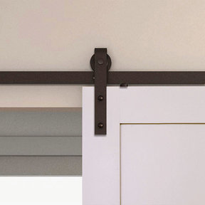 Espresso Solid Steel Decorative Sliding/Rolling Barn Door Hardware Kit for Single Wood Door  DOOR NOT INCLUDED