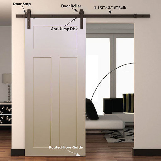 View a Larger Image of  Espresso Solid Steel Decorative Sliding/Rolling Barn Door Hardware Kit for Single Wood Door  DOOR NOT INCLUDED