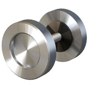 "Stainless Steel 2"" Diameter Knob for Wood or Glass Doors"