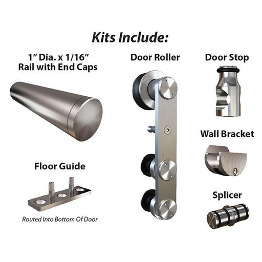 View a Larger Image of American Pro Decors Stainless Steel -304  Grade- Decorative, Sliding-Rolling Barn Door Hardware Kit for Double Wood Doors DOORS NOT INCLUDED
