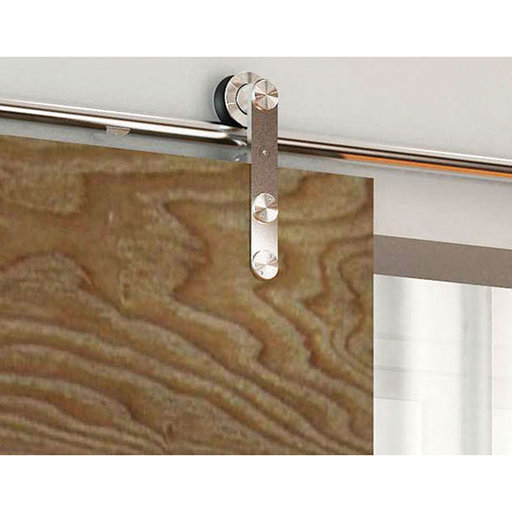 View a Larger Image of American Pro Decors Stainless Steel -304  Grade- Decorative, Sliding-Rolling Barn Door Hardware Kit for Single Wood Door DOOR NOT INCLUDED