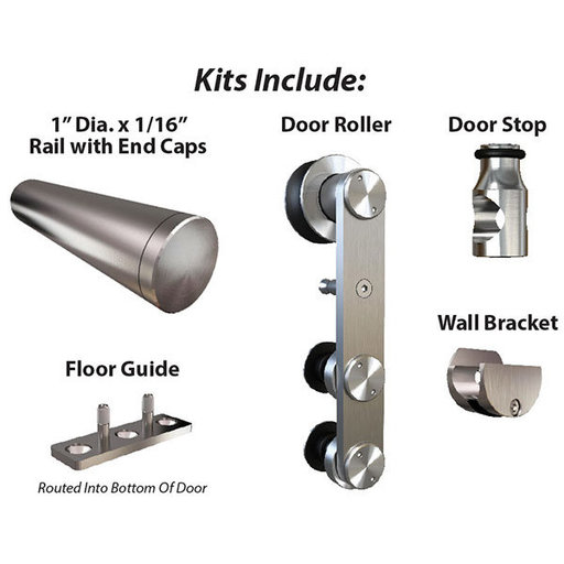 View a Larger Image of  Stainless Steel -304  Grade- Decorative, Sliding-Rolling Barn Door Hardware Kit for Single Wood Door DOOR NOT INCLUDED
