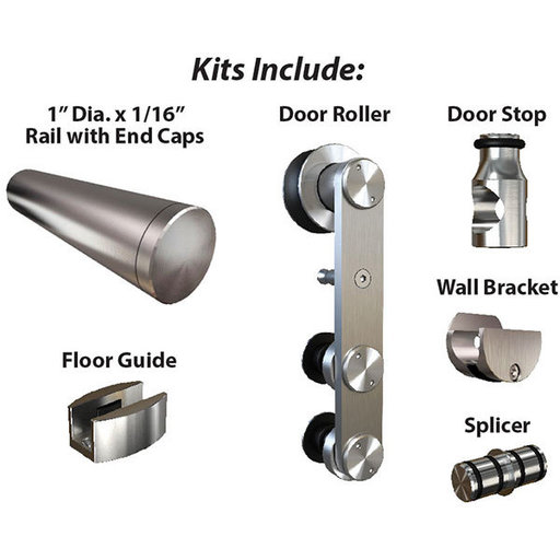 View a Larger Image of  Stainless Steel -304  Grade- Decorative, Sliding-Rolling Door Hardware Kit for Double Glass Doors With Fittings  DOORS
