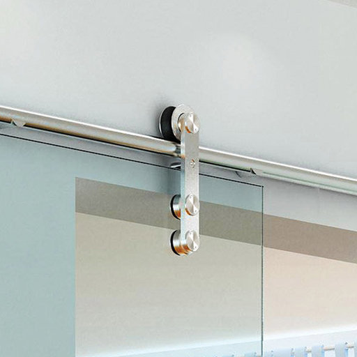 View a Larger Image of American Pro Decors Stainless Steel -304  Grade- Decorative, Sliding-Rolling Door Hardware Kit for Single Glass Doors  DOOR NOT INCLUDED