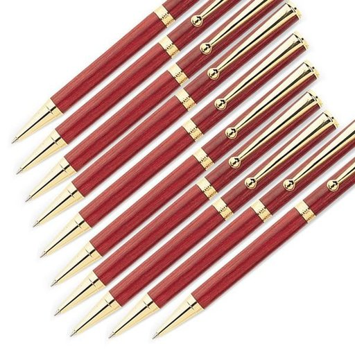 View a Larger Image of 7mm Slim Style Solid Clip Ballpoint Pen Kit - Gold 10 Pieces