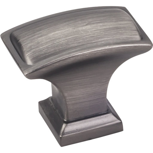 """View a Larger Image of Annadale Rectangle Pillow Top Knob, 1-1/2"""" O.L.,  Brushed Pewter"""