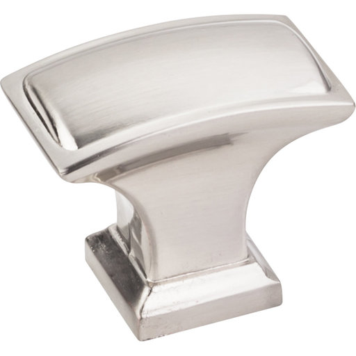 "View a Larger Image of Annadale Rectangle Pillow Top Knob, 1-1/2"" O.L., Satin Nickel"