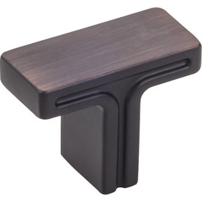 "Anwick Rectangle Knob, 1-3/8"" O.L., Brushed Oil Rubbed Bronze"