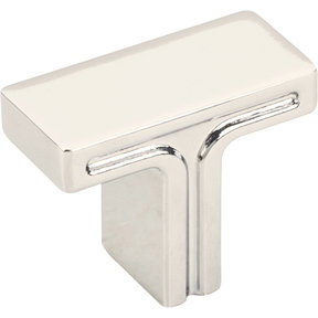 "Anwick Rectangle Knob, 1-3/8"" O.L., Polished Nickel"