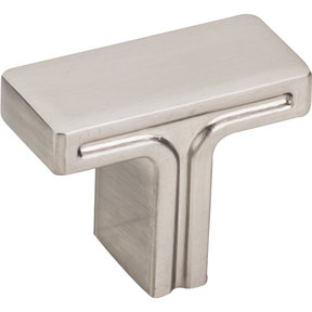 "Anwick Rectangle Knob, 1-3/8"" O.L., Satin Nickel"