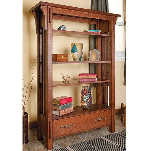 View a Larger Image of Arts & Craft Bookcase - Downloadable Plan