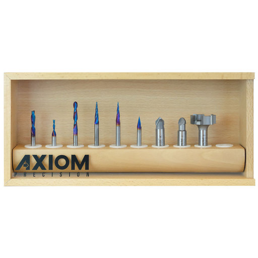 View a Larger Image of 9-piece Spektra CNC Bit Set for Axiom AutoRouter by Amana Tool