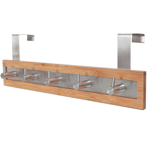 View a Larger Image of Bamboo Wood & Stainless Steel Over The Door Towel Rack, 5 Hooks