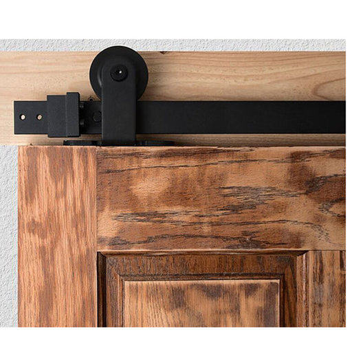 "View a Larger Image of Barn Door Hardware Black Top Mount 6'6"" Rail"