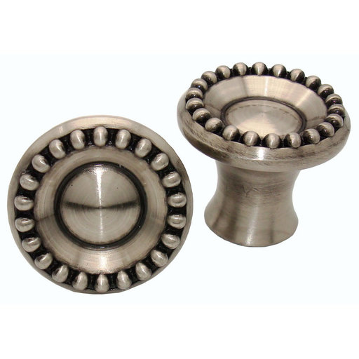 View a Larger Image of Beaded Elegance Knob, Satin Nickel