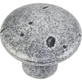 "Belcastel 2 Knob, 1-1/4"" Dia.,  Distressed Antique Silver"