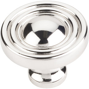 "Bella Round Knob, 1-3/8"" Dia.,  Polished Nickel"