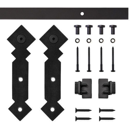 View a Larger Image of Black Double Diamond Rolling Single Furniture Door Kit with 5-ft. Rail