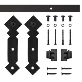 Black Double Diamond Rolling Single Furniture Door Kit with 5-ft. Rail