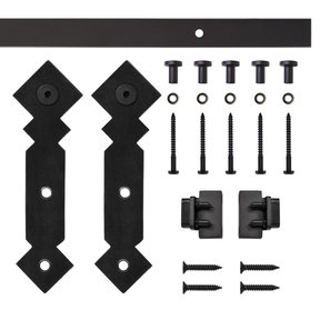 Black Double Diamond Rolling Single Furniture Door Kit with 6-ft. Rail