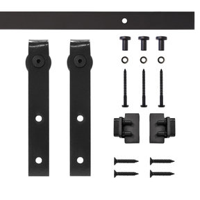 Black Flat Hook Rolling Single Furniture Door Kit with 4-ft. Rail