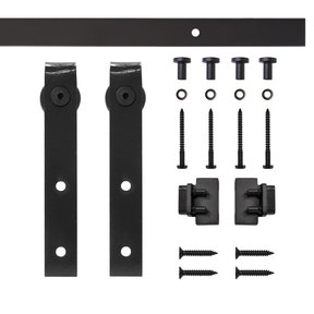 Black Flat Hook Rolling Single Furniture Door Kit with 5-ft. Rail