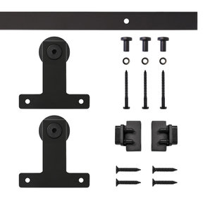 Black Front Mount Rolling Single Furniture Door Kit with 4-ft. Rail