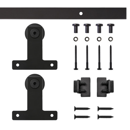 View a Larger Image of Black Front Mount Rolling Single Furniture Door Kit with 5-ft. Rail