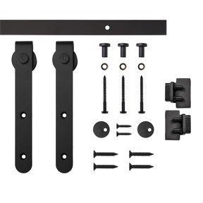 Black Round Hook Rolling Single Furniture Door Kit with 4-ft. Rail