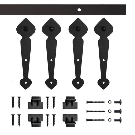 View a Larger Image of Black Spade Rolling Double Furniture Door Kit with 4-ft. Rail